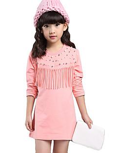 Girl's Cotton  Spring/Autumn Round Neck Tassels Long Sleeve Long T-Shirt Dress