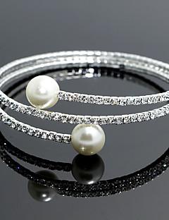 Damen Armbänder Strand / Tennis / Runde Armreifen Silber / Künstliche Perle Imitierte Perlen
