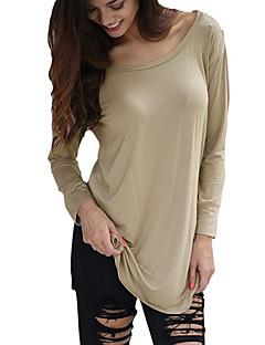 T-shirt Da donna Casual Sensuale Per tutte le stagioni,Collage Rotonda Cotone / Rayon Rosso / Beige / Nero Manica lunga Sottile
