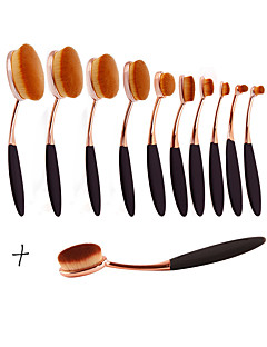 New Arrival 11pcs/set ToothBrush Shape Oval Makeup Brush Set MULTIPURPOSE Professional Foundation Powder Brush Kits