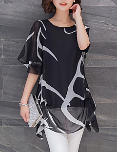 Women's Plus Size / Going out / Simple Summer Blouse,Print Round Neck Short Sleeve White / Black Polyester Thin