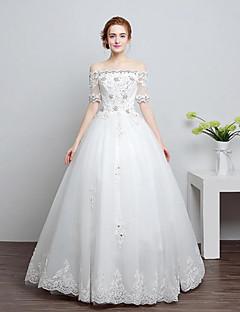 A-라인 웨딩 드레스 바닥 길이 보트넥 레이스 / 튤 와 비즈 / 레이스
