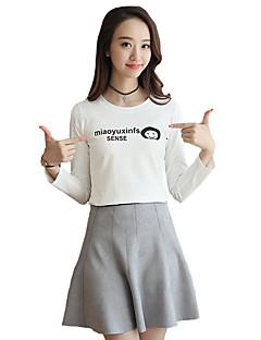 婦人向け カジュアル/普段着 秋 Tシャツ,シンプル ラウンドネック プリント ホワイト コットン 長袖 薄手