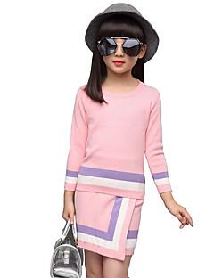 Mädchen Pullover & Cardigan / Kleidungs Set-Lässig/Alltäglich Gestreift Kunstseide Winter / Frühling / Herbst Blau / Rosa