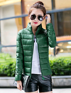 Women's Regular Down Coat,Simple Casual/Daily Solid-Cotton Polypropylene Long Sleeve Stand Blue / Black / Green / Yellow / Multi-color