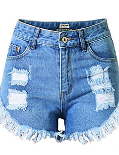 Women's Solid Loose Tassels Hole Plus Size Shorts Pants,Street chic