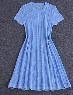 Damen Hülle Kleid-Ausgehen / Lässig/Alltäglich / Urlaub Sexy / Einfach / Niedlich Solide Rundhalsausschnitt Übers Knie Kurzarm Blau