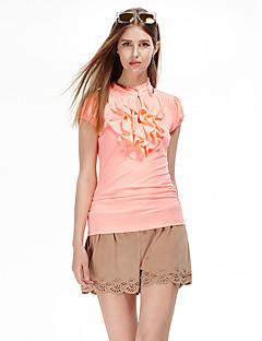 Kortærmet Rund hals Tynd Kvinders Orange Ensfarvet Sommer Simpel I-byen-tøj T-shirt,Polyester / Spandex