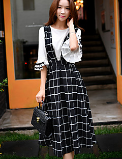 DABUWAWA Women's Work Vintage / Sophisticated Plaid wing Dress,Check Strap Sleeveless