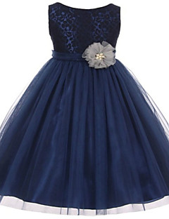 Ball Gown Tea-length Flower Girl Dress - Lace / Tulle Sleeveless Jewel with Appliques / Bow(s) / Lace / Sash / Ribbon