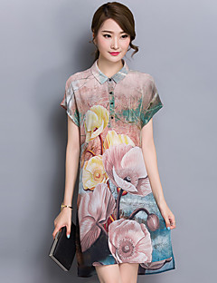Women's Casual/Daily / Plus Size Simple Shift Dress,Print Shirt Collar Above Knee Short Sleeve Gray Polyester Summer Mid Rise
