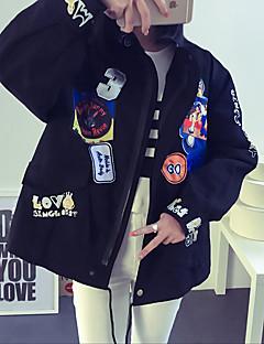 Damen Buchstabe Street Schick Lässig/Alltäglich Jacke,Ständer Herbst Langarm Blau / Schwarz / Orange Polyester Mittel