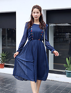 Maternity Casual/Daily Simple Loose Dress,Solid Round Neck Midi Long Sleeve Blue / White Polyester Fall
