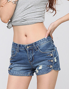 Women's Mid Rise Micro-elastic Jeans Shorts Pants,Street chic Simple Straight Solid