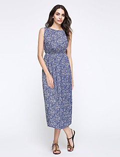 Women's Casual/Daily / Holiday Boho Plus Size / Chiffon / Swing Dress,Print Round Neck Midi Sleeveless Blue Polyester Summer