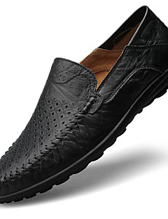 Men's Loafers & Slip-Ons Spring / Summer Moccasin / Comfort Cowhide Casual  Slip-on Black / Brown / Yellow Walking