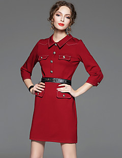 Damen Hülle Kleid-Arbeit Retro / Einfach Solide Hemdkragen Übers Knie ¾-Arm Rot / Grün Baumwolle / Nylon / Elasthan Frühling / HerbstHohe