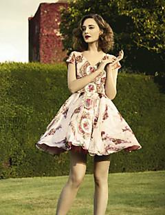 Feminino Swing Vestido,Casual Fofo Estampado Decote Redondo Acima do Joelho Manga Curta Rosa Poliéster Verão Cintura MédiaSem