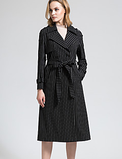 BORME® 여성 셔츠 카라 긴 소매 트렌치 코트 블랙 페이드-Y052