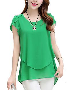 Damen Solide Einfach / Street Schick Ausgehen Bluse,Rundhalsausschnitt Kurzarm Blau / Rosa / Schwarz / Grün Polyester Dünn