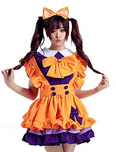 Costumes Uniforms Halloween Orange Patchwork Terylene Dress / Earring