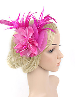 Women's Feather / Net Headpiece-Wedding / Special Occasion Birdal Flower Fascinators 1 Piece