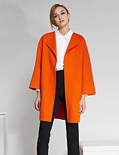 Damen Solide Einfach Ausgehen Mantel,Winter Steigendes Revers Langarm Orange Dick Wolle
