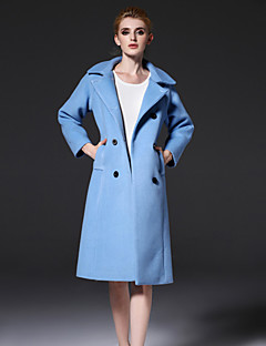 frmz Frauengehen einfach coatsolid fallendem Revers lange Hülse Herbst / Winter blau Wolle / Polyester-Medium