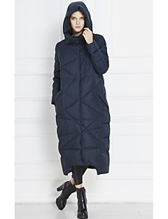 Women's Solid Blue / Orange Down CoatStreet chic Hooded Long Sleeve
