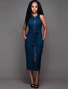 Bodycon / Dżins Sukienka Damskie Codzienne Seksowna / Moda miejska Jendolity kolor,Okrągły dekolt Midi Bez rękawów Niebieski Poliester