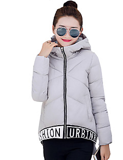 Women's Letter Print Color Block Plus Size Slim Down CoatSimple / Street chic Hooded Long Sleeve
