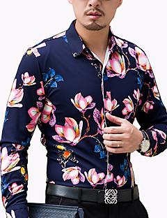 Herren Hemd-Blumen Freizeit / Büro / Übergröße Baumwolle / Polyester Lang Blau