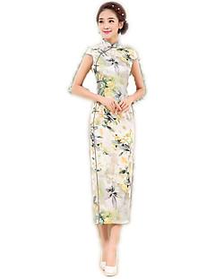 한 조각/드레스 코스프레 로리타 드레스 플로럴 짧은 소매 긴 길이 에 대한 폴리에스테르
