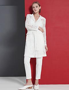 Langærmet Peak Lapel Medium Dame Hvid Ensfarvet Forår Efterår Sofistikerede I-byen-tøj Kappe,Polyester