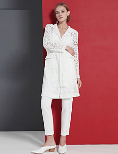 Langærmet Peak Lapel Blonder Damer Lang Ensfarvet Forår Efterår Sofistikerede I-byen-tøj Kimono Jakke,Polyester