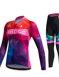 Miloto חולצה וטייץ לרכיבה לנשים יוניסקס שרוול ארוך אופניים נושם ייבוש מהיר חדירות ללחות 3D לוח תומך זיעהמכנסיים אימונית ג'רזי טייץ רכיבה