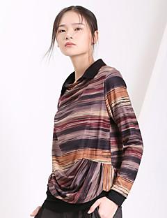 Yishidian® Damen Hemdkragen Lange Ärmel T-Shirt Grün / Orange / Braun-ESD331