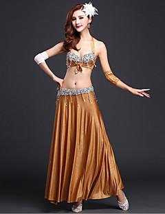 ריקוד בטן תלבושות בגדי ריקוד נשים ביצועים זהורית נצנצים חזית מפוצלת 4 חלקים בלי שרוולים טבעי כפפות חצאית סט חזייה ותחתוניםS:93 M:93 L:93