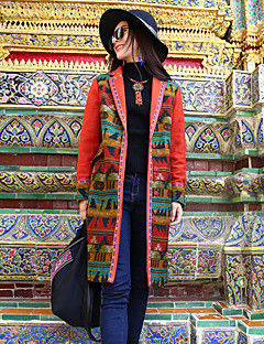 Our Story Women's Going out Boho CoatPrint Peaked Lapel Long Sleeve Winter Orange Rabbit Fur / Acrylic / Polyester Thick