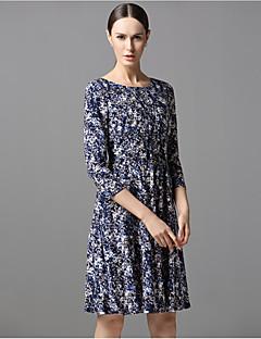 sarah Dekan Frauen Casual / Tages Mantel dressprint Rundhals knielangen Herbst Taille unelastisch Medium