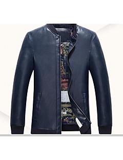 Men's Long Sleeve Casual JacketPU Solid Blue / Brown