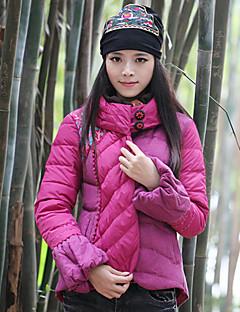 Damen Gefüttert Mantel,Standard Boho Ausgehen Stickerei-Polyester Baumwolle Langarm Lila Rollkragen