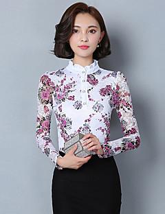 Women's Plus Size / Work Chinoiserie Fall / Winter BlousePrint Stand Long Sleeve Purple Cotton / Polyester Medium