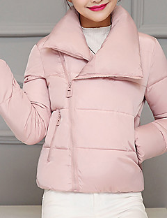 Women's Short Padded CoatStreet chic Thick Hin Thin Casual/Daily SolidLong Sleeve Stand