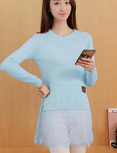 Women's Casual/Daily Cute Long PulloverPatchwork Blue / Pink / White / Black / Gray Round Neck Long Sleeve