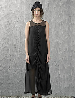 Sunny Maternity Casual/Daily Simple Shift DressSolid Round Neck Maxi Sleeveless Black Silk Summer High Rise Inelastic