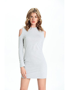 Women's Going out / Casual/Daily / Beach Sexy / Cute T Shirt DressSolid Round Neck Mini Long Sleeve Gray Cotton Summer