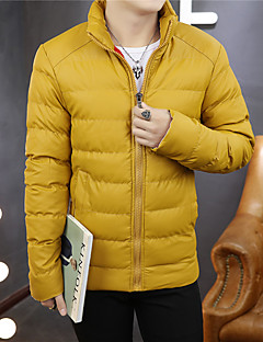 Herren Gefüttert Mantel - Normal Einfarbig Lang Baumwolle