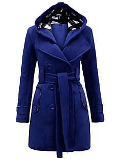 Damen Solide Einfach / Street Schick Lässig/Alltäglich Mantel,Winter Mit Kapuze Langarm Blau / Rot / Beige / Schwarz / Grau / Lila Mittel