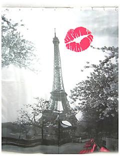 Fashion Red Lip Eiffel Tower Pattern Shower Curtain Bathroom Waterproof  Fabric